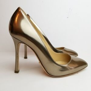 Sergio Rossi metallic gold pumps 35